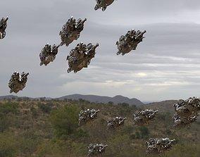 3D Swarm of Alien Sci fi Ships