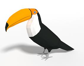 3D asset Low Poly Cartoon Toucan Bird
