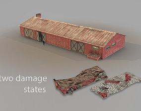 3D model Old Garage 01 red with damage DMG
