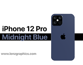 3D model iPhone 12 Pro Midnight Blue equipment