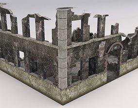3D model Ruined Damaged Building 1