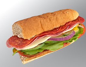 3D asset Subway sandwich