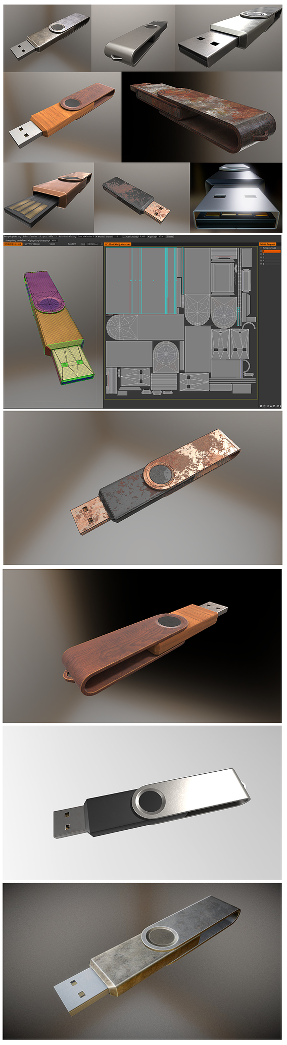 USB-Stick High and Low Poly in Different Versions