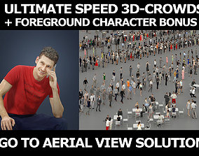 3d crowds and a foreground sitting Jayne phone casual