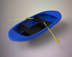 3D asset game-ready Fishing boat sailing