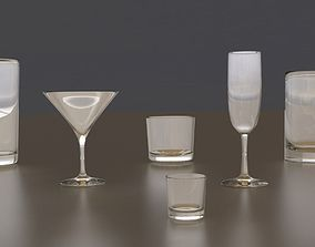 Assorted Beverage Glassware 3D asset