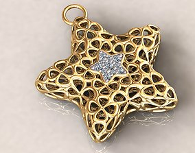 3D printable model Wireframe Flowers Star Charms Pendant