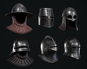 6 Lowpoly Medieval Helmets Pack 3D model