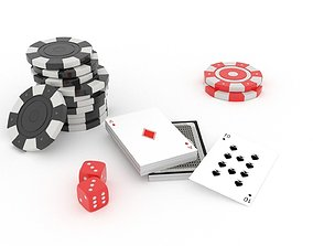 Casino chips and dice 3D model