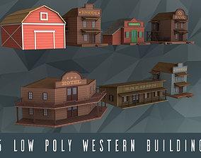 3D asset Low poly western buildings