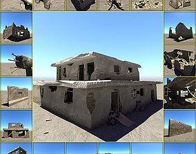 Ruined house set 3D asset