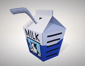 3D model low-poly Small milk carton