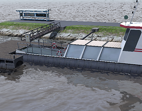 game-ready River bicycle ferry floating dock 3d low-poly