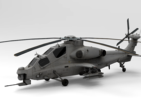 low-poly Low Poly Attack Helicopter WZ-10 3D Model