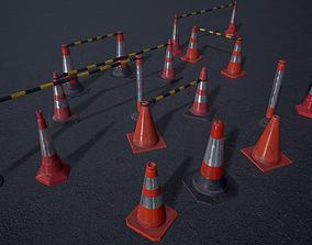 3D model Traffic Cones - set