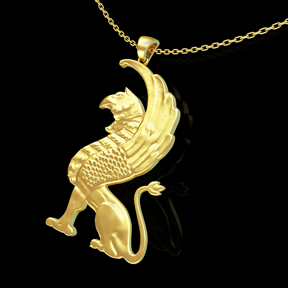 Gryphon Pendant Jewelry Gold 3D print model