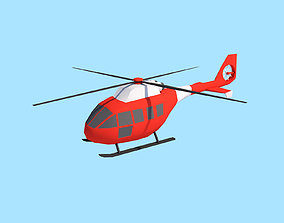 Cartoon Low Poly Helicopter 3D asset