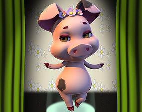 Bouguet Pig 3D model rigged