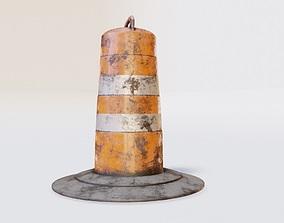 3D model dirty lowpoly traffic Barrel Barricade with pbr