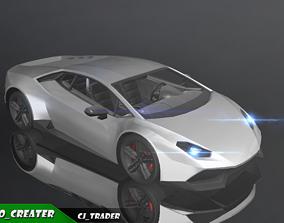 Lowpoly Lamborghini Huracan Racing Car 3D Model low-poly