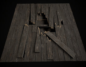 Old Wooden Floor set 3D asset