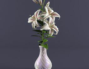 lilies in a vase 3D model