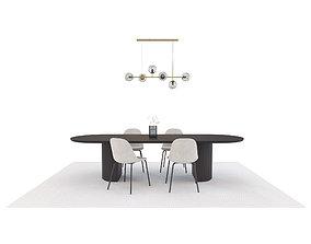 Model Set 08 Moon Dining Table Orb Pendant Harbor Chair 3D