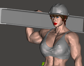 Strong worker woman 3D printable model
