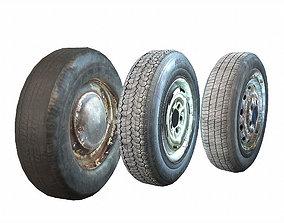 3D asset Retro automobile wheels pack