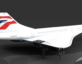 3D British Airways Concorde G-BOAA supersonic airliner
