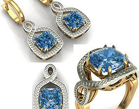 WOMAN SET RING EARRINGS AND PENDANT 3D