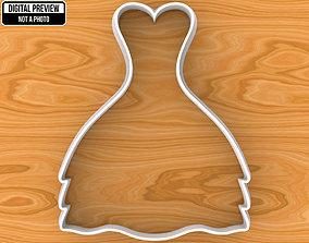 3D print model Wedding Dress Cookie Cutter