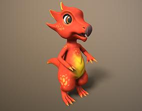 3D model cartoon ruby dragon