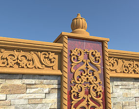 Stone wall and carved decorations 3D asset