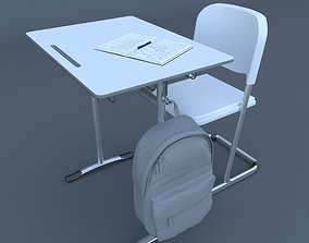 3D asset School Desk and Chair model
