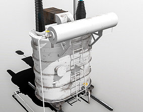 Power Transformer - White - PBR 3D asset