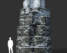 Low poly Snow Ruin Medieval Construction 05 3D model