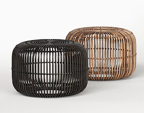 3D model Small Flat Rattan Side Table Natural and Black