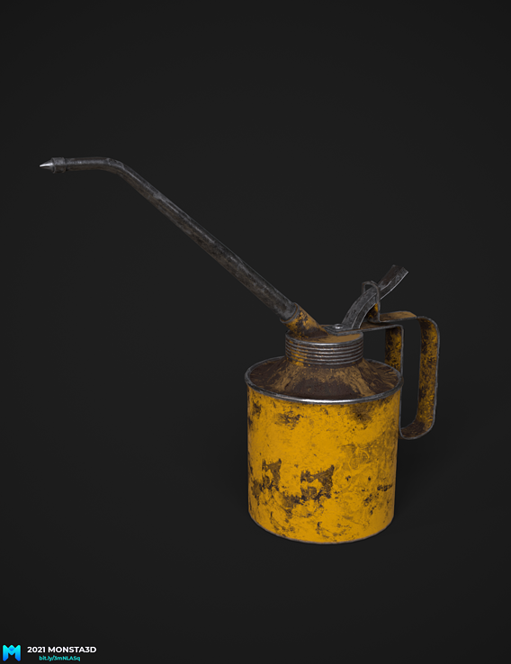 lowpoly pbr oil can game asset
