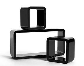3D model Black Square and Rectangular Shelves