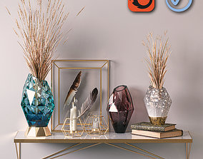 Golden Decorative Set 01 3D