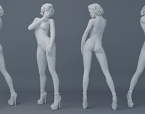 3D printable model Short hair girl wearing bikini 002
