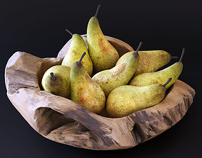 Decorative wooden bowl with pears 3D model