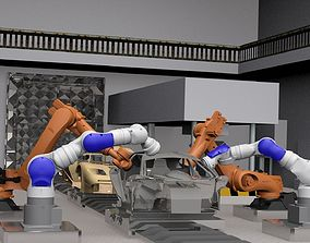 Industrial Vehicle Assembly Robots Rigged 3D asset