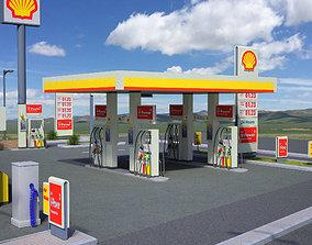 3D asset Shell Gas Station