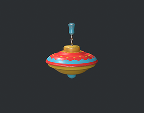 Red and Yellow Spinning Top - Vintage Toy 3D asset