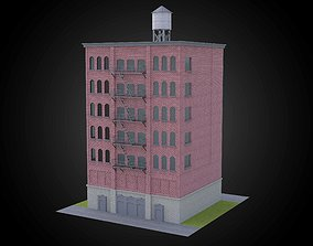 Brick building w water tower exterior fully realtime 1