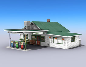 3D model Gas Station With Grocery