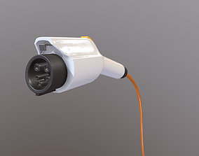Electric car charging plug 3D model