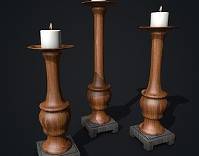 Wooden Candle Holders with Candles 3D model
